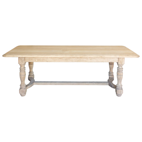 Stripped Antique French Oak Table with Turned Leg Details & Beveled Edge Top
