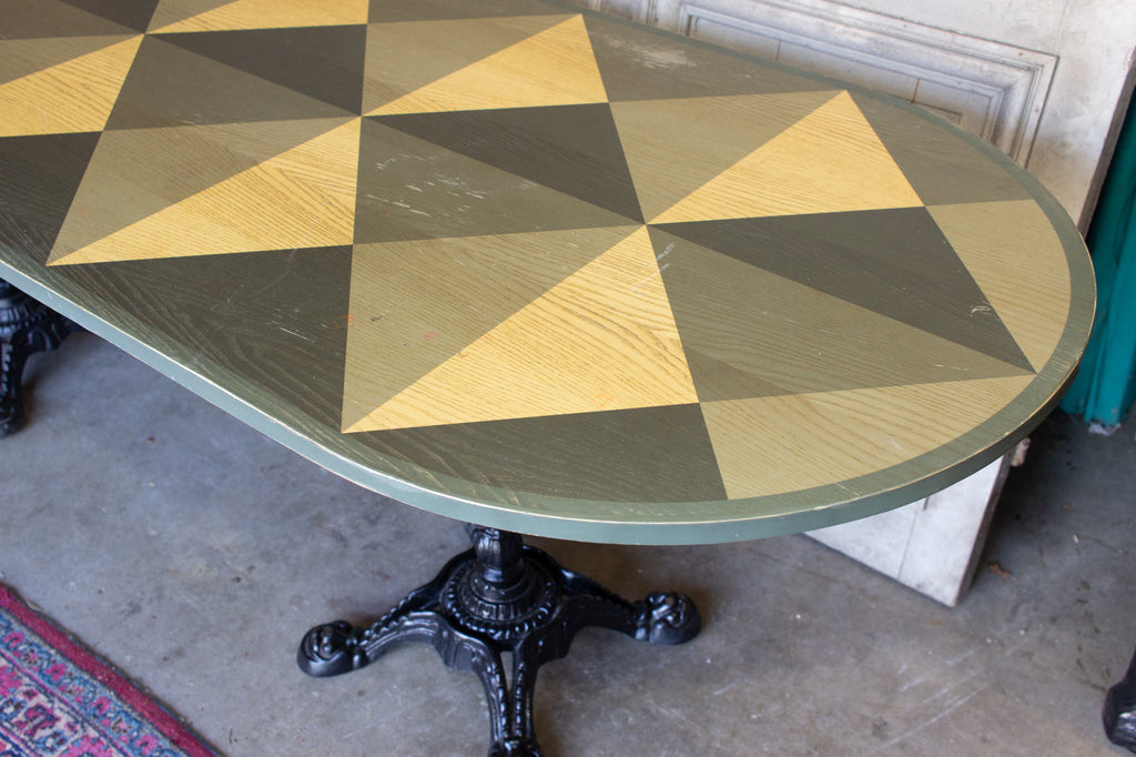 1940s Painted Wood and Iron Long Bistro Table Found in England