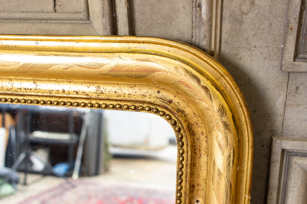 Antique French Bright Gold Gilt Louis Philippe Mirror with Floral Details