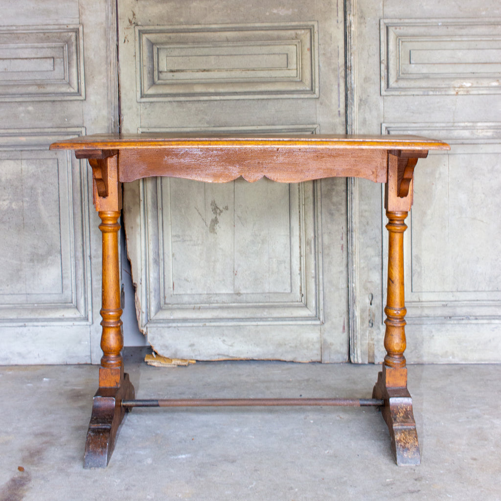 1940s French Wood & Metal Bistro Console Table