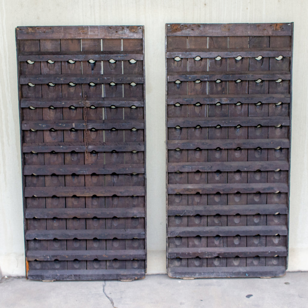 Pair of 1920s French Solid Wood Riddling Racks