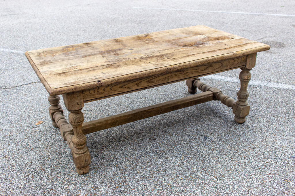 1920s French Distressed Oak Coffee Table with Drawer