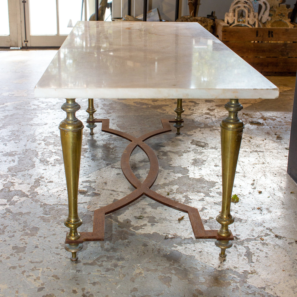 Antique French Brass & White Marble Coffee & Cocktail Table ca. 1900