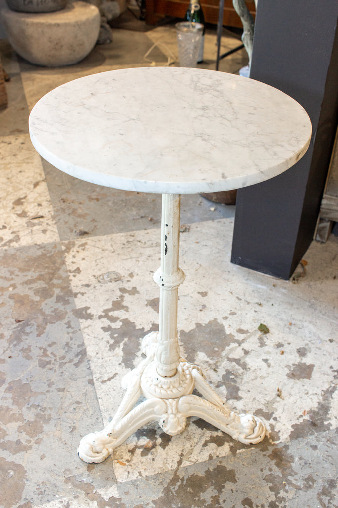 Antique French White Marble & Painted Iron Bistro Table
