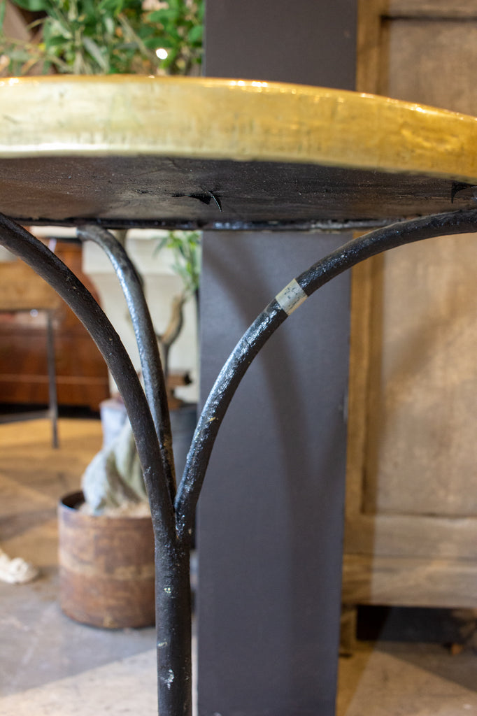 Antique French Bistro Table with Brown Marble & Brass Top on Iron Base