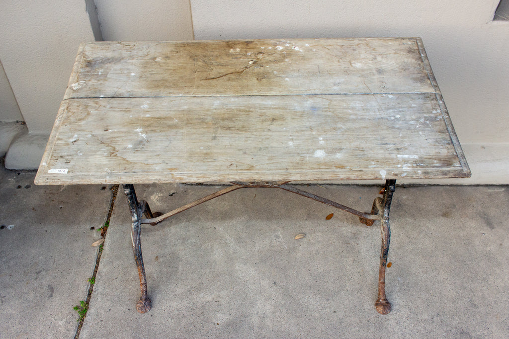 Antique French Distressed Garden Bistro Table with Black Iron Base