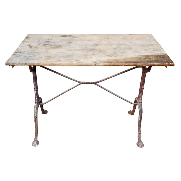 Antique French Distressed Garden Bistro Table with Red Iron Base