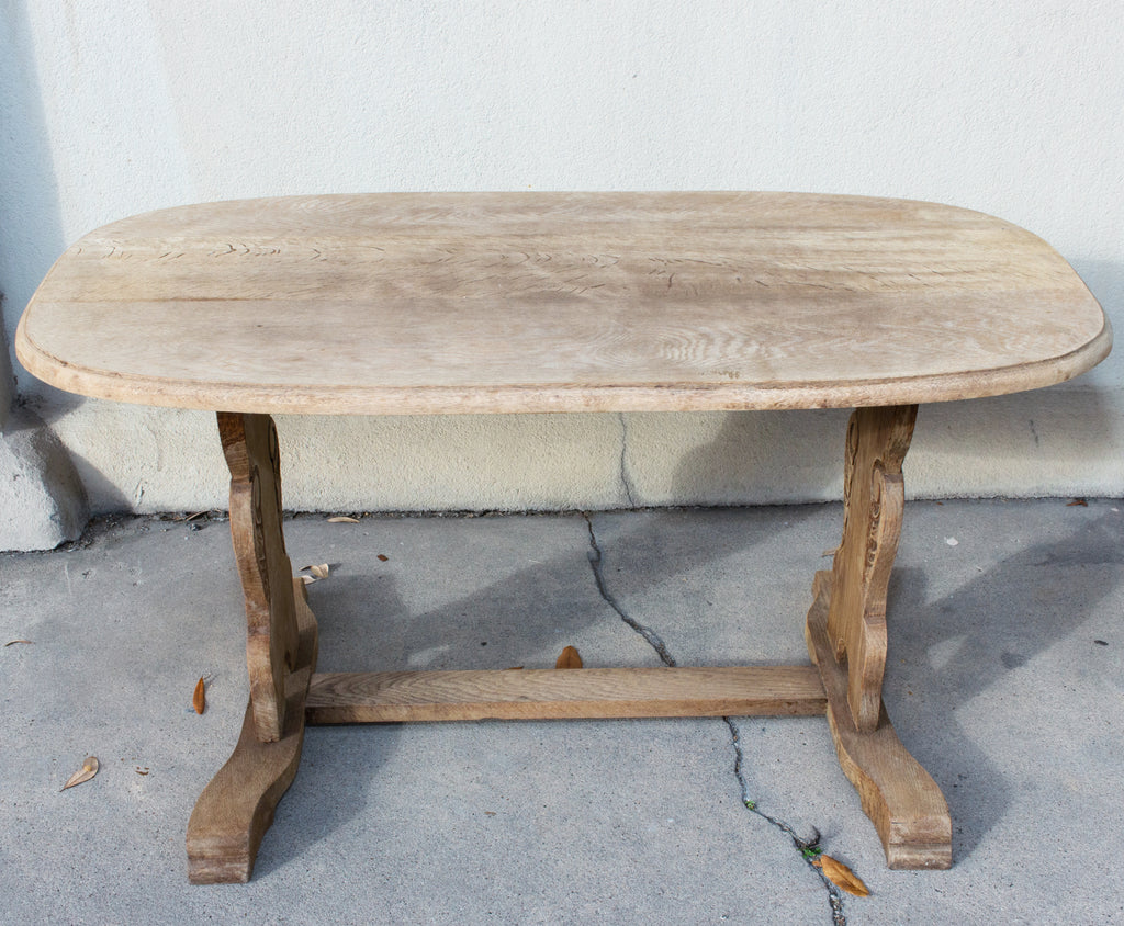 Vintage Stripped French Oak Ovular Coffee Table with Carved Details