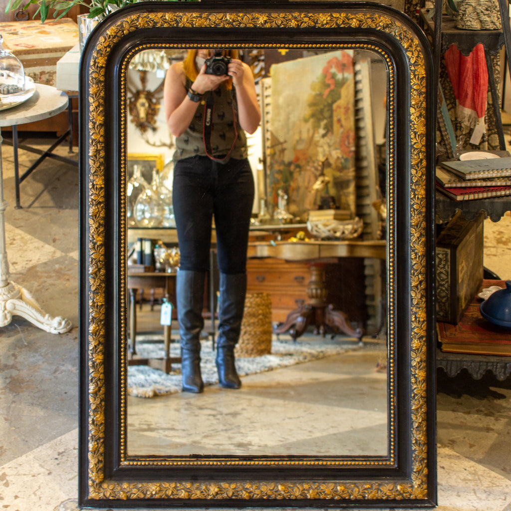Antique French Black & Gold Louis Philippe Mirror with Floral Detail