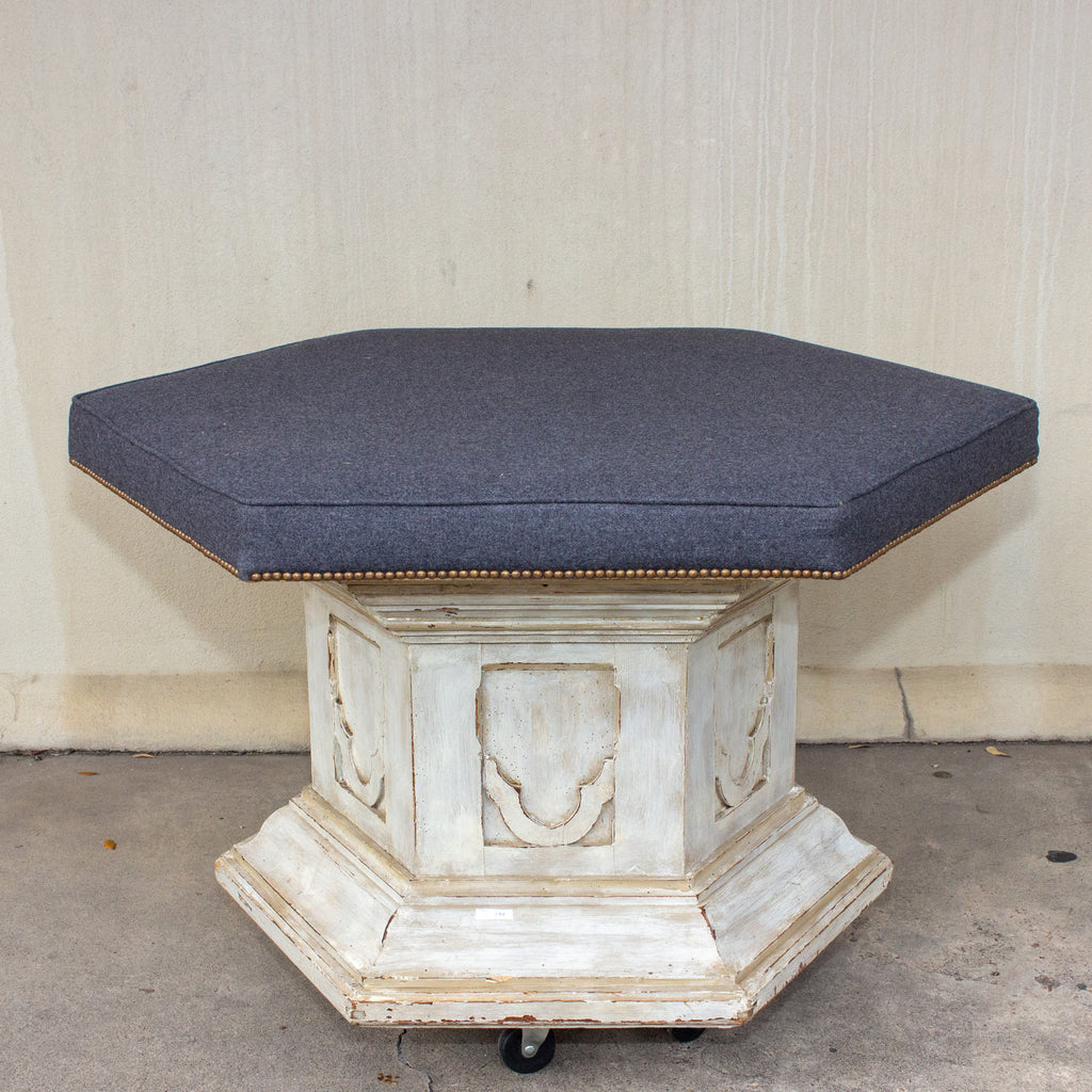 Antique French Ecclesial Hexagonal-Shaped Ottoman with Gray Wool Upholstery