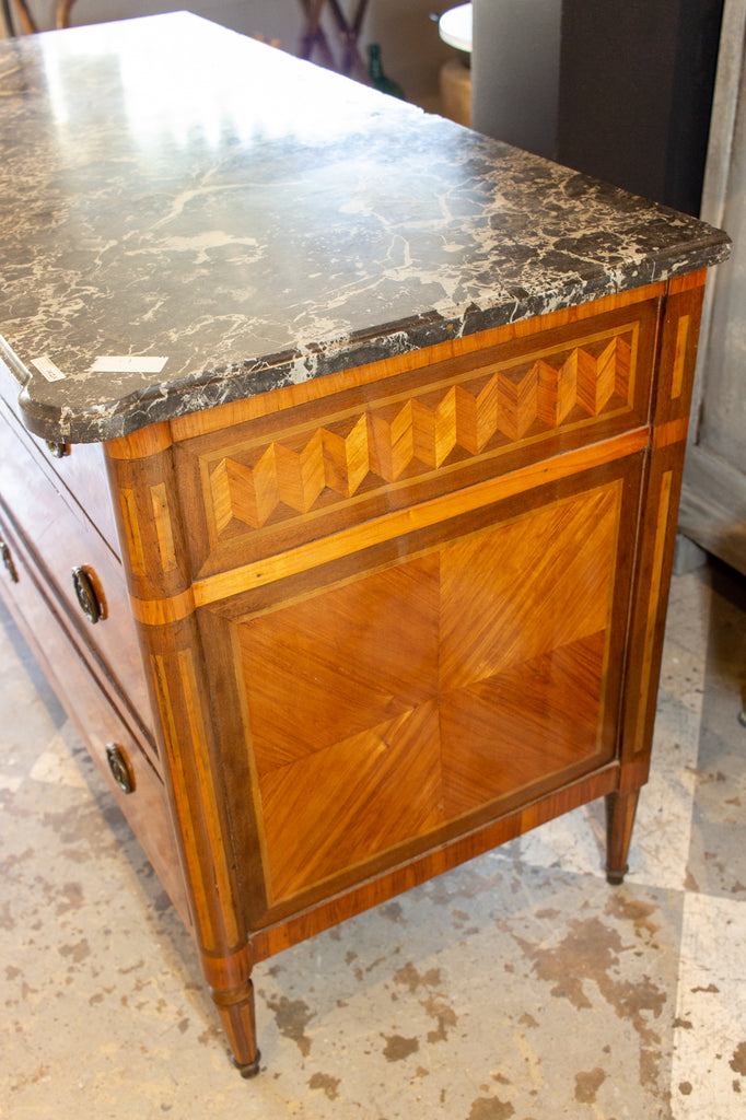 Antique French Louis XVI Commode with Veneer Marquetry & Belgian Marble Top