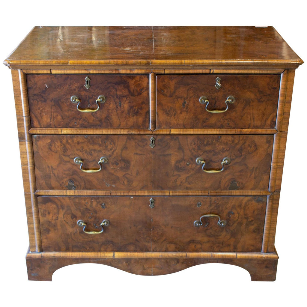 Vintage French Chest of Drawers with Burled Wood Veneer and Brass Hardware