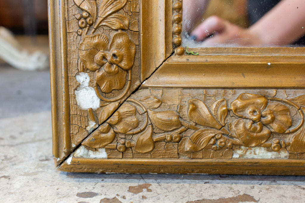 Antique French Distressed Gilt Finish Louis Philippe Mirror with Floral Details