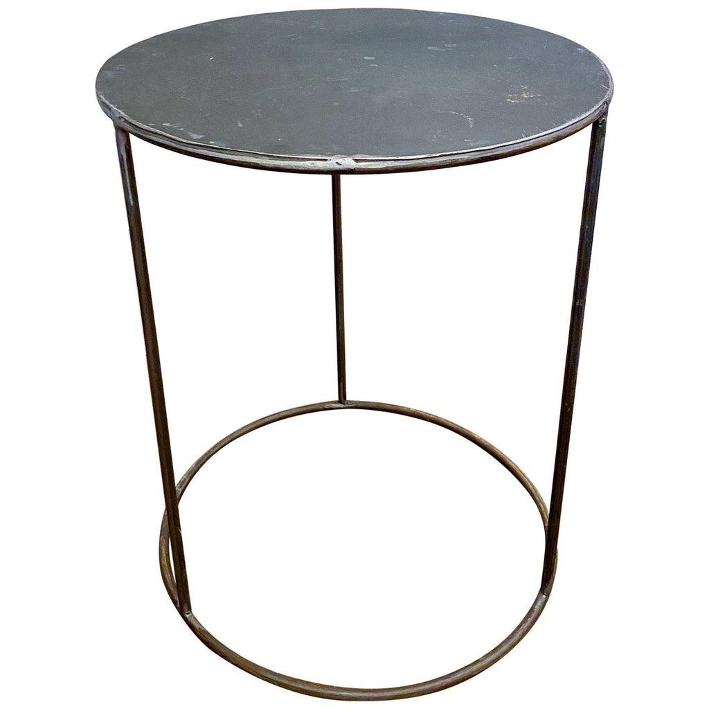 Vintage French Industrial Round Metal Side Table