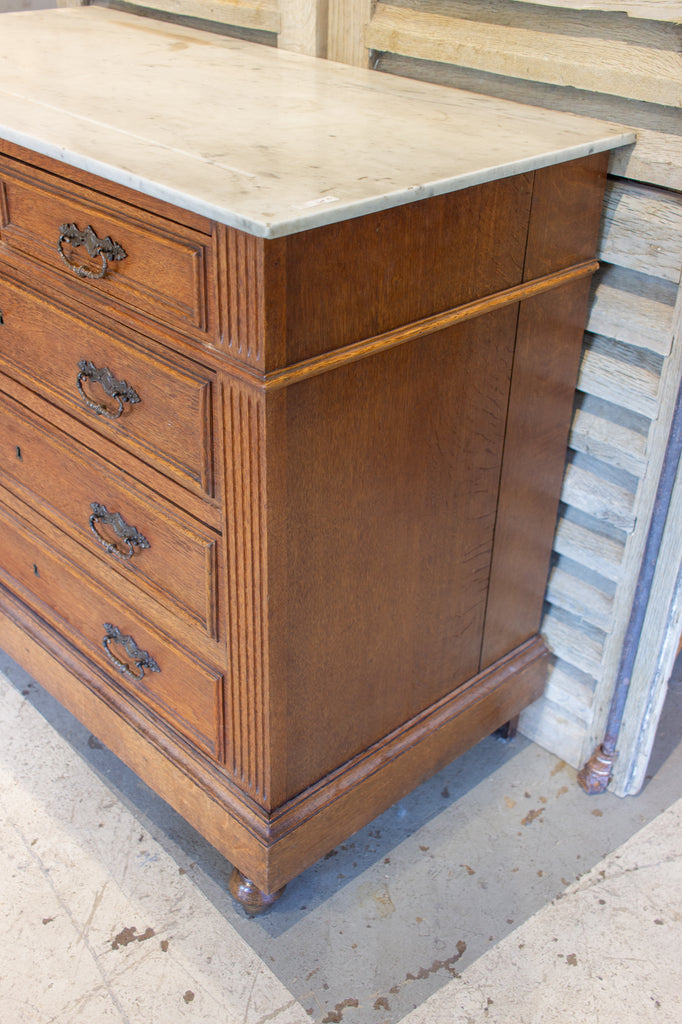 Petite Antique French Carved Wood Chest of Drawers with White Marble Top