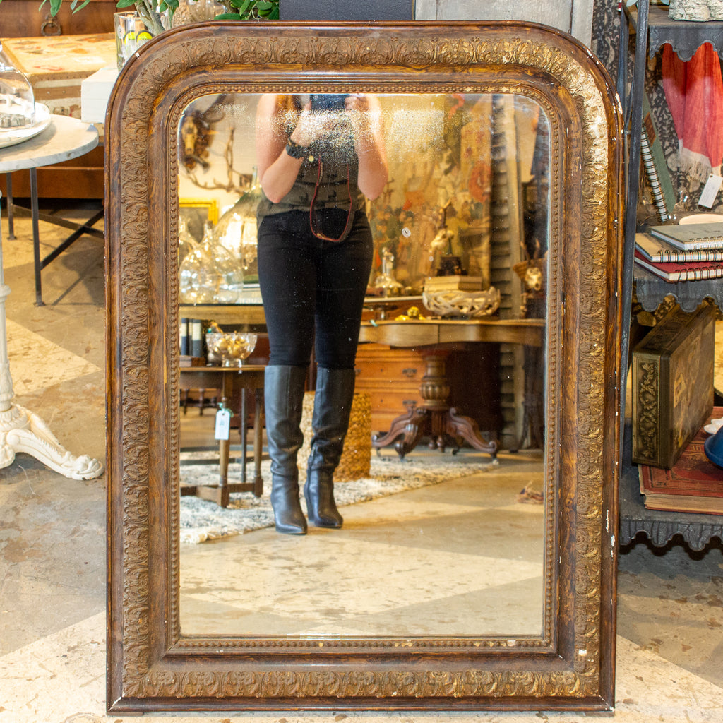 Antique French Distressed Finish Louis Philippe Mirror with Floral Details