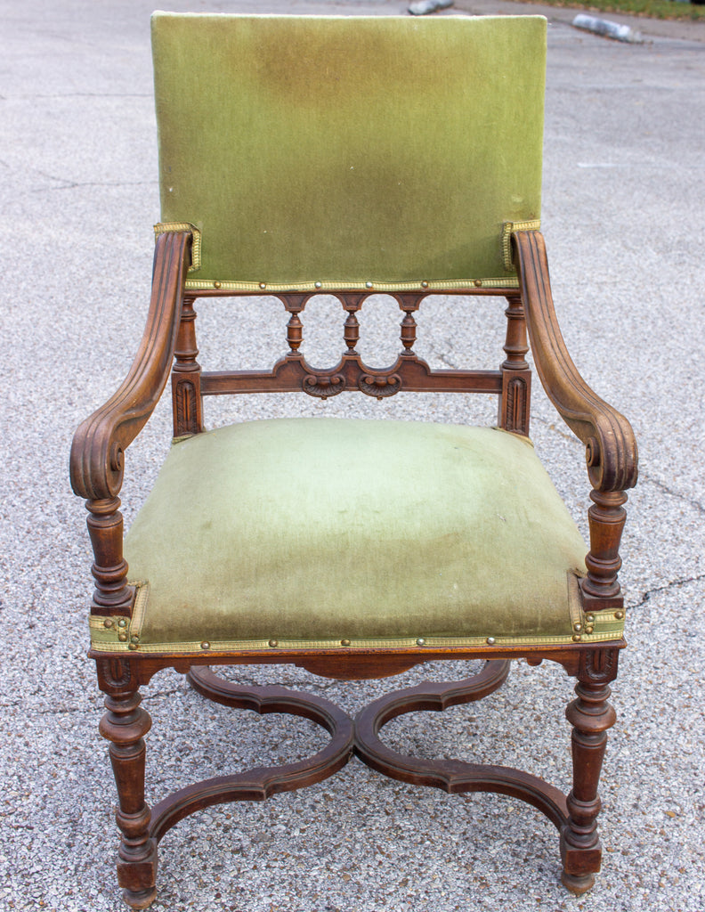 Antique French Carved Wood Armchair with Green Velvet Upholstery