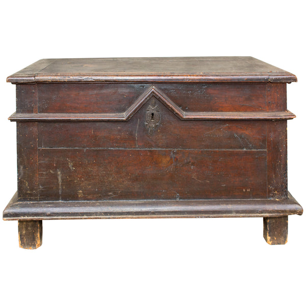 Antique French Oak Trunk with Iron Hardware