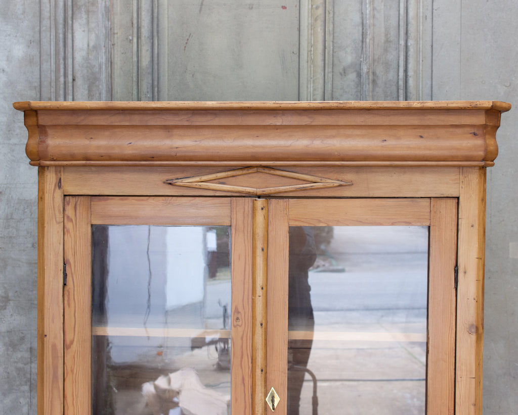 1920s French Pine Deux Corps with Glass Doors