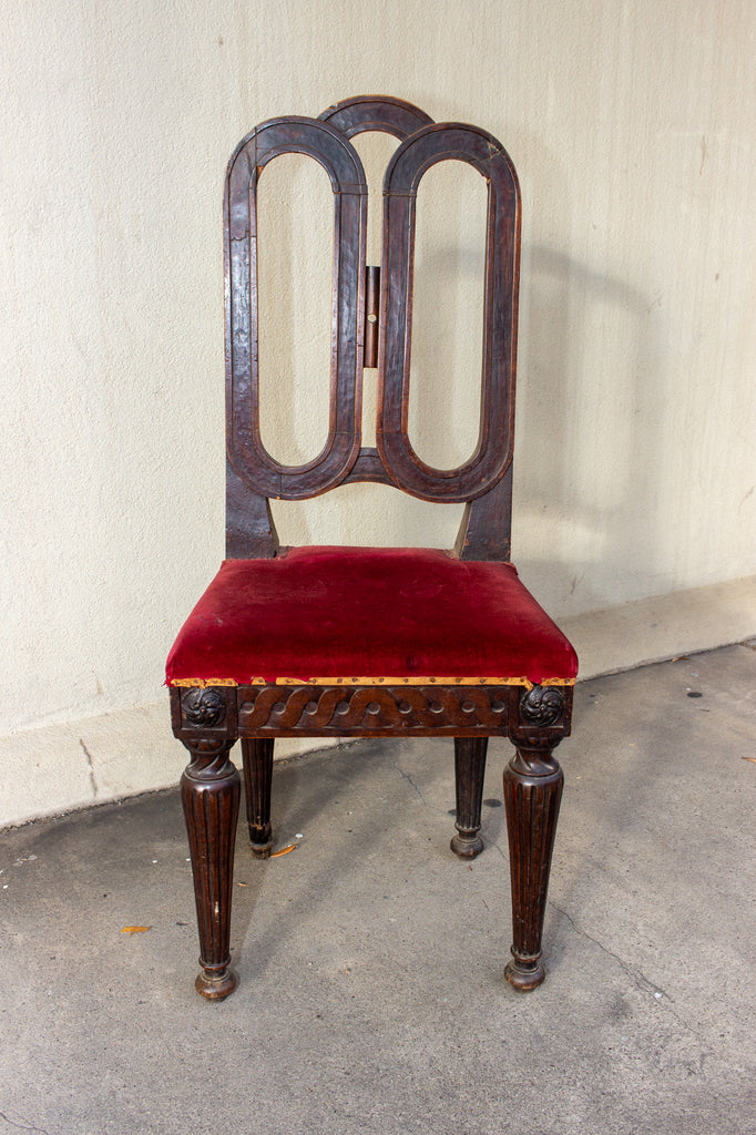 Antique French Oak Dining Chair with Red Velvet Seat