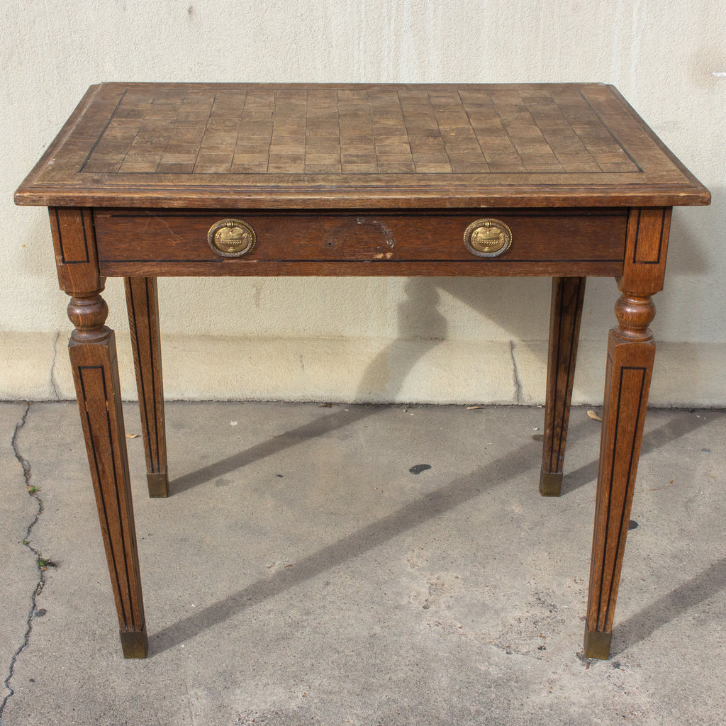 1920s French Parquet Top Desk with Drawer and Brass Details