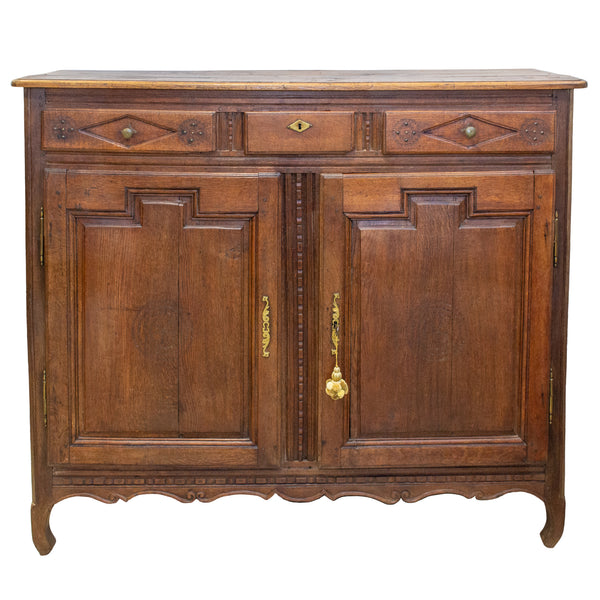 18th c Belgian Tall Wood Buffet Cabinet with Decorative Carvings