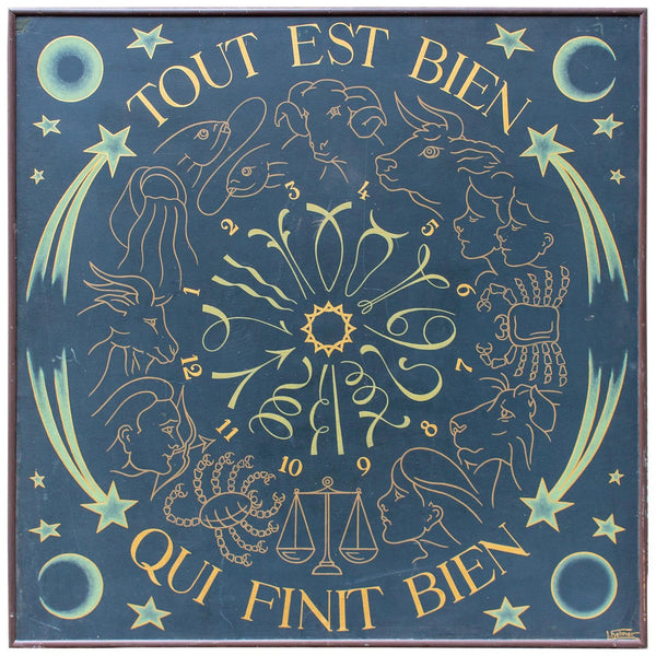 Vintage French Astrological Art Panel