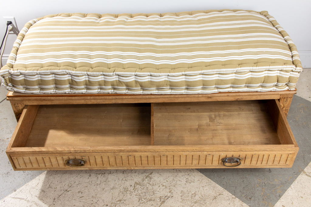 19th Century French Wood Banquette Bench with Cotton Cushion and Storage