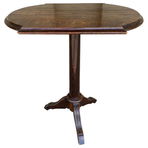 Antique French Carved Wood Pedestal Table with Cabriole Legs, circa 1880