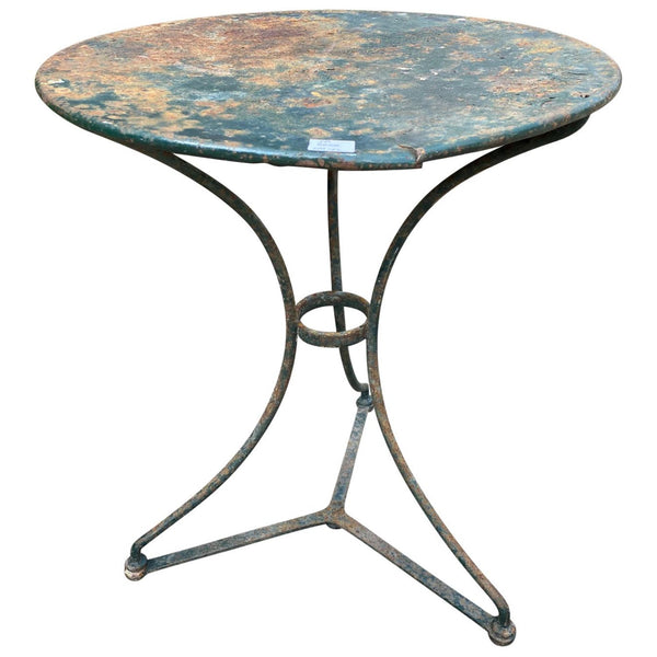 Rustic French Painted Metal Bistro Table in Deep Green