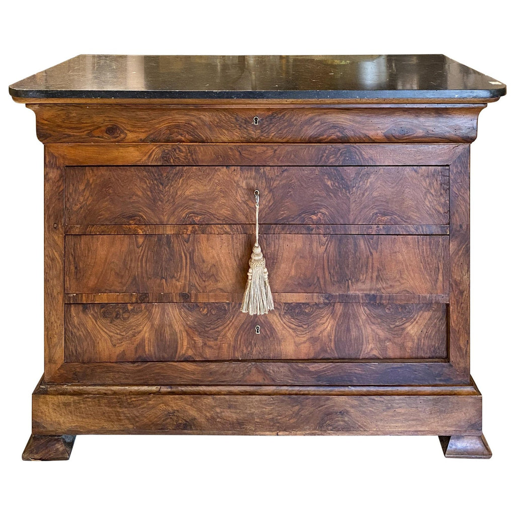 Antique French Mahogany Veneer Chest with Black Fossilized Marble Top