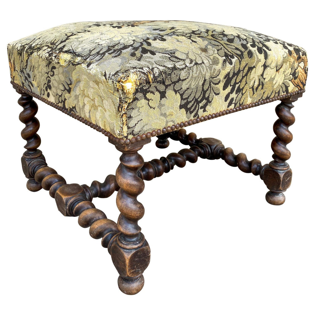 Antique French Barley Twist Ottoman with Embroidered Upholstery, circa 1900