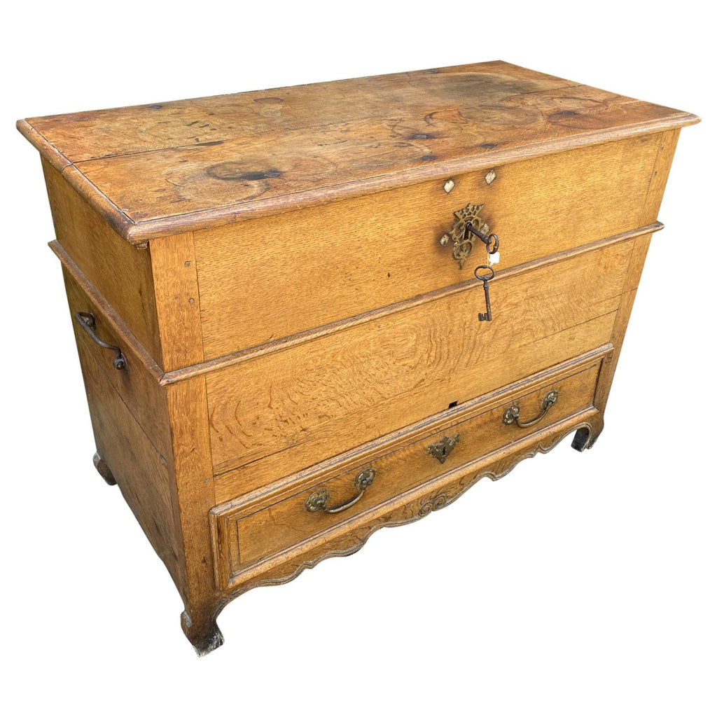 19th Century French Oak Chest with Hinged Top and Lower Drawer with Keys