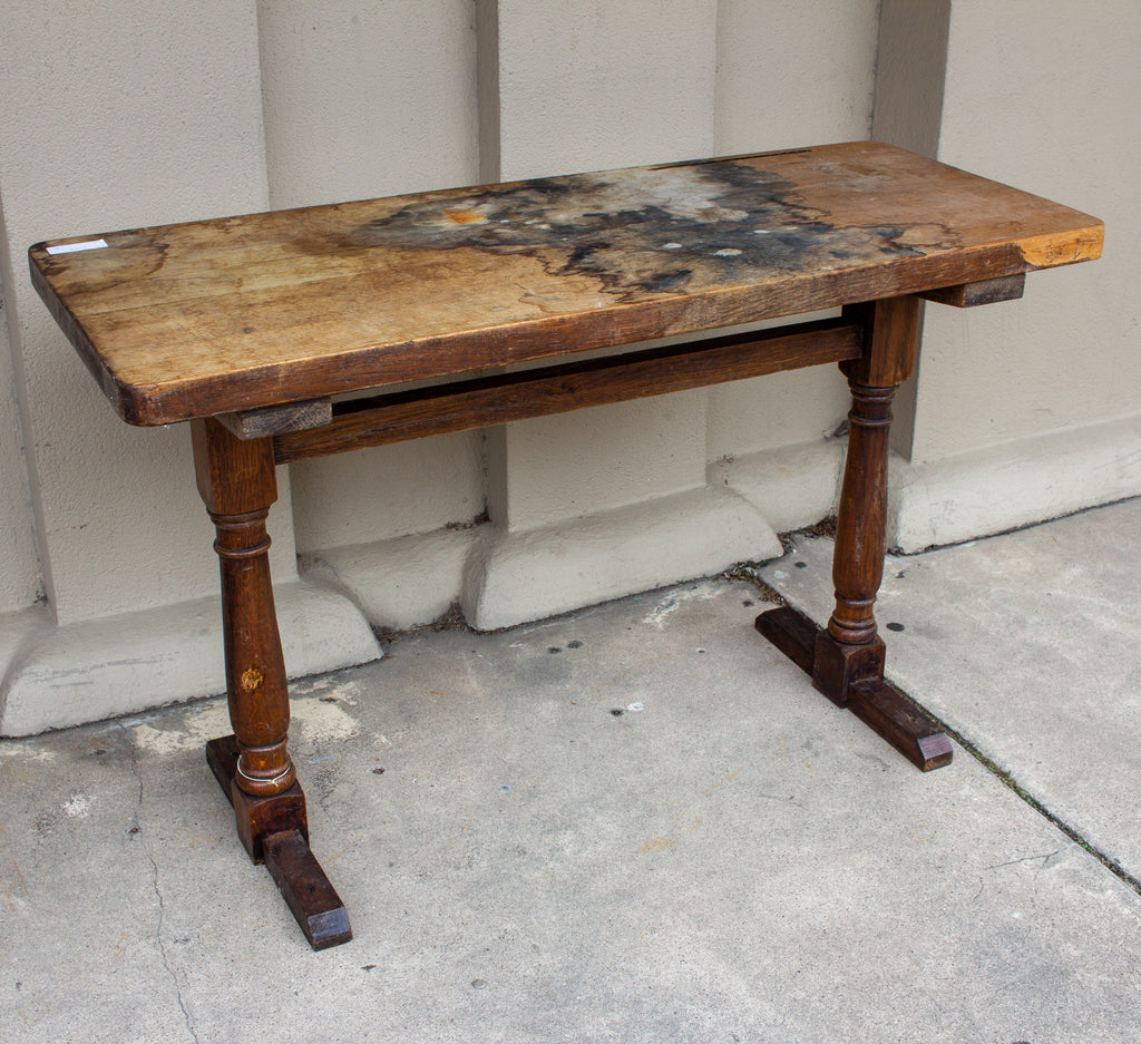 Antique French Distressed Wood Console Table