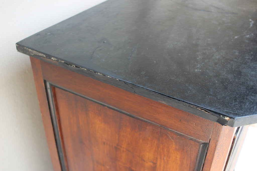 Antique French Walnut Veneer Chest of Drawers with Black Painted Accents