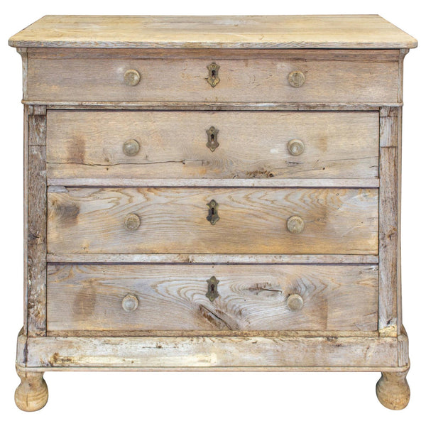 Antique Stripped French Oak Chest of Drawers