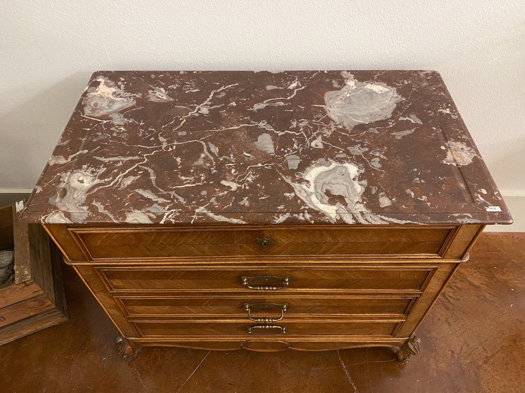 19th Century Louis XV Style Carved Wood Chest with Veneer Details and Marble Top