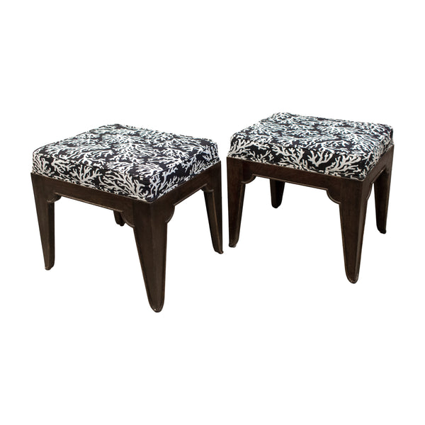 Pair of Mid-Century Wood Stools with Graphic Upholstery