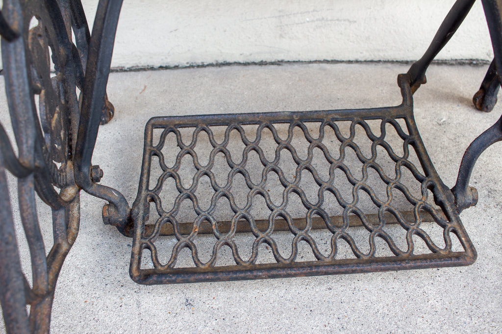 Antique Iron Singer Bar & Removable Tray Inlaid with Vintage Romantic Sheet Music