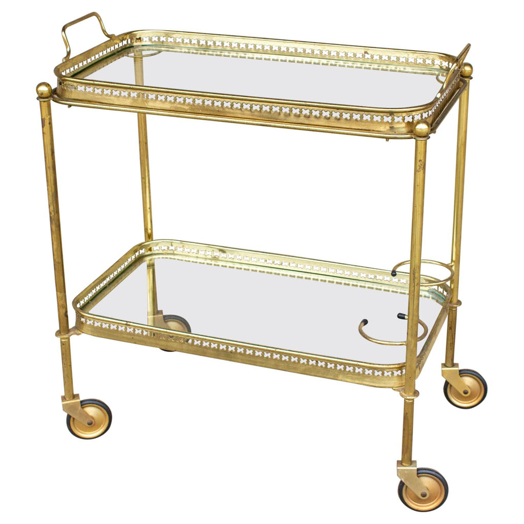 Art Deco French Brass And Glass Bar Cart With Tray Top On Casters Laurier Blanc Unique Home Decor From Around The World