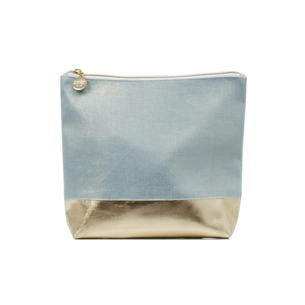 Cabo Lustre Linen & Faux Gold Leather Cosmetic Bag