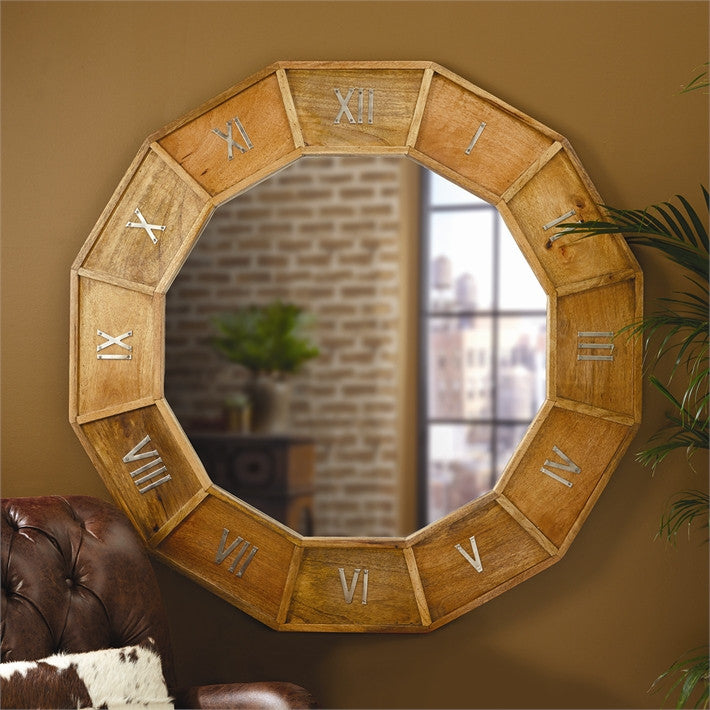 Muse D'Orsay Wooden Clock Design Wall Mirror