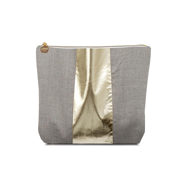 Flax & Metallic Faux Leather Racing Stripe Cosmetic Bag