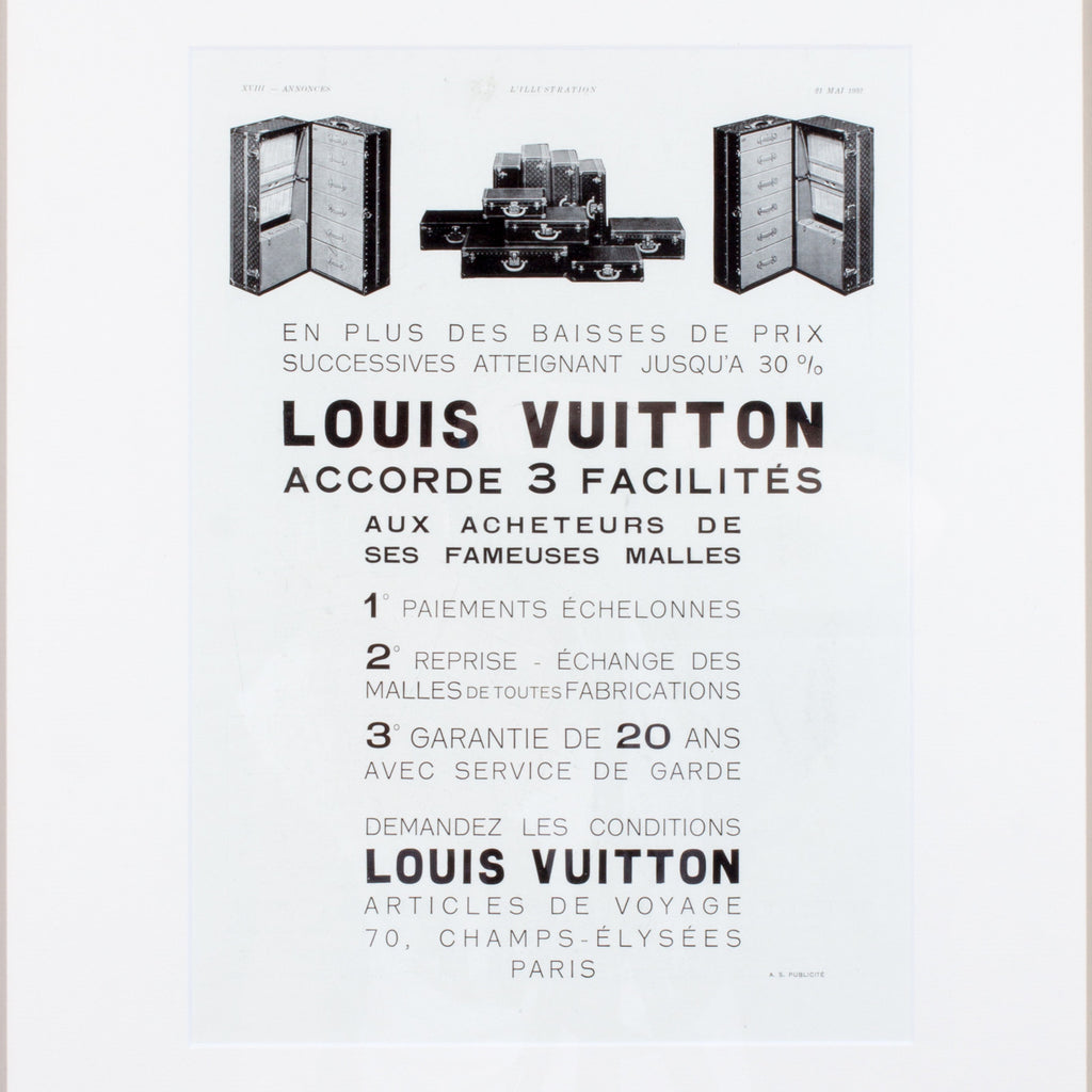 Framed 1930s French Louis Vuitton Luggage Print Ad