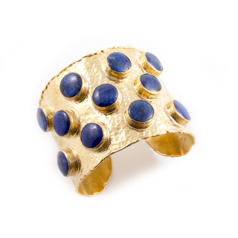 Round Lapis & Brass Cuff from Istanbul