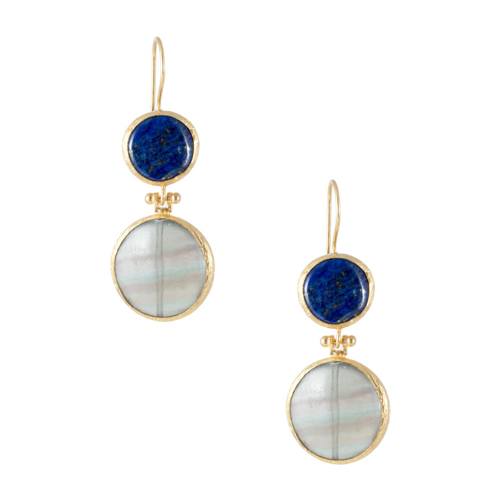 Turkish Delights Earrings: Lapis Lazuli & Quartz Drops