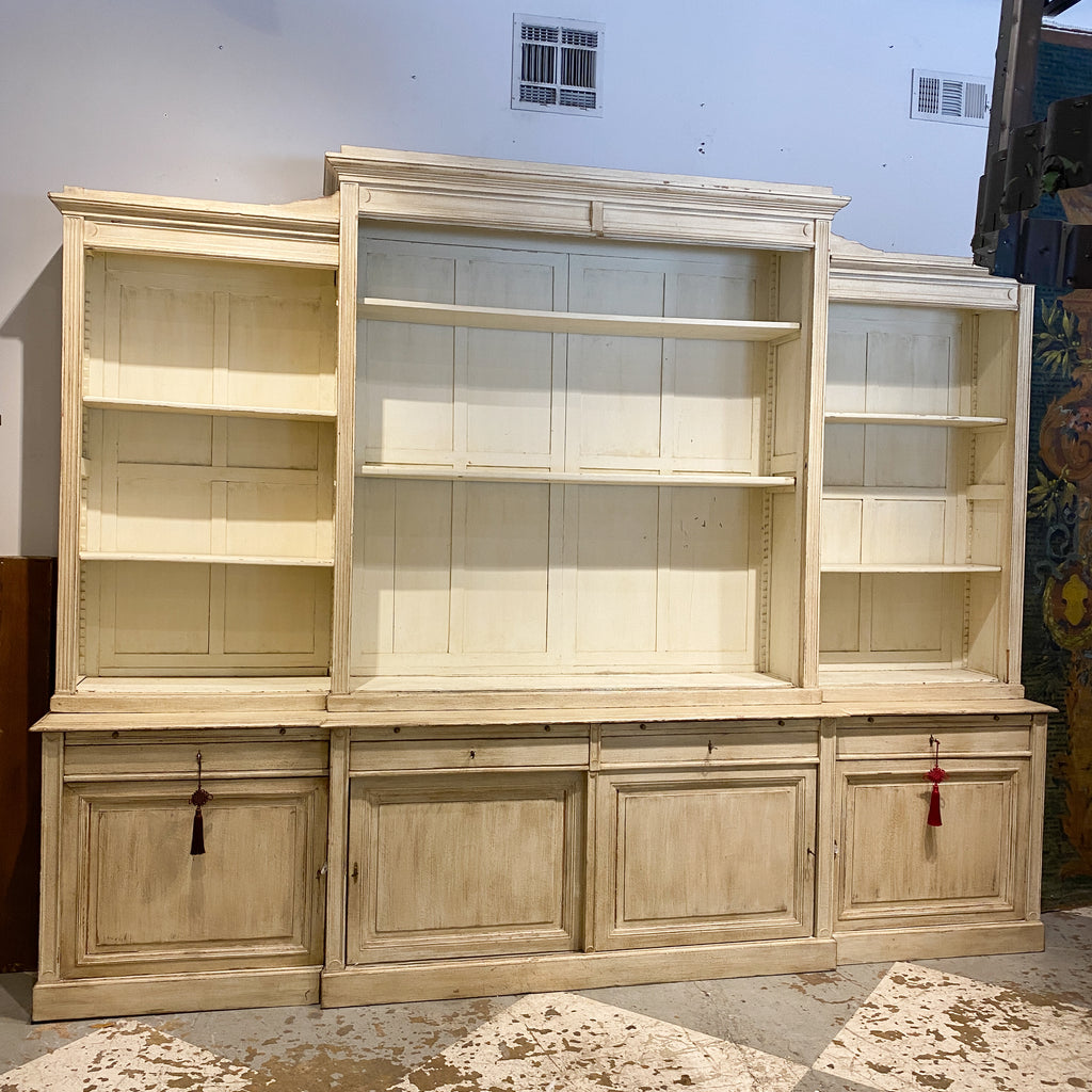 Antique Belgian Vitrine with Glass Front Doors in Antiqued White Painted Finish