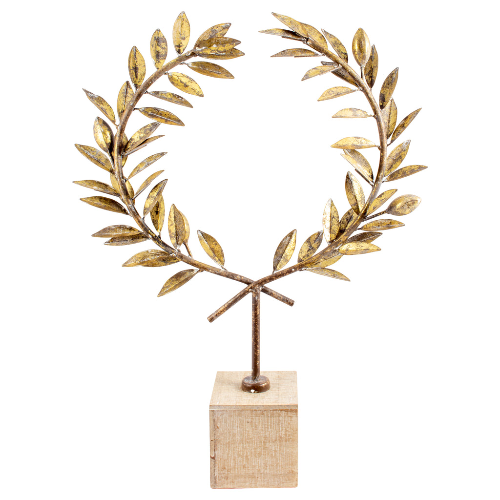 Antiqued Gold Laurel Wreath in Wood Stand