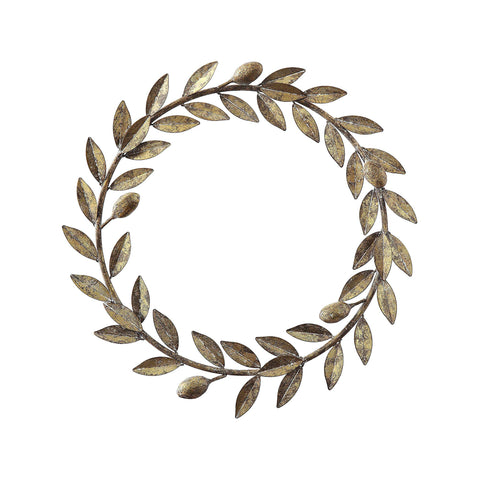 Metal Laurel Wreath in Antiqued Gold Finish