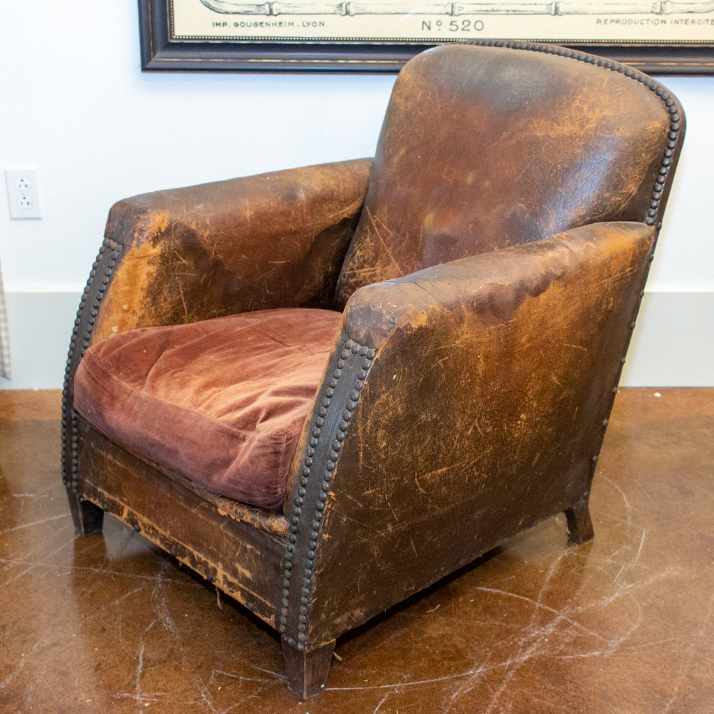 1930s French Distressed Leather and Velvet Armchair with Brass Nailhead Detail